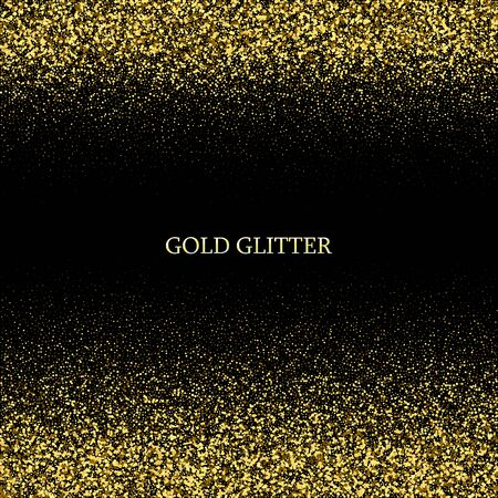 Festive background with falling glitter confetti, golden dust on black. Sparkling glitter border, vector frame. Great for wedding invitations, party posters, christmas, new year and birthday cards.