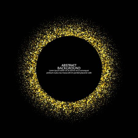 Gold frame glitter texture isolated on black. Golden color of winners. Gilded abstract particles. Explosion of confetti shine. Celebratory background. Vector illustration,eps 10. 矢量图像