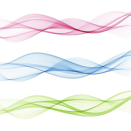 Set of waves. Stream of color smooth waves. Blue, green, pink wave background.