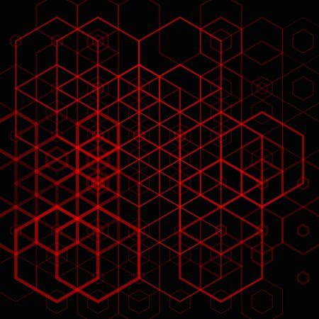 Motif hexagonal rouge abstrait sur fond sombre