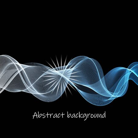 Vector - Disco Abstract Blue Waves on Black Background Vettoriali