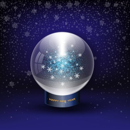 Vector snow globe on blue. Layered.