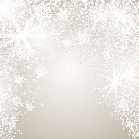 Fond de Noël élégant avec des flocons de neige et place pour le texte. Illustration vectorielle. Vecteurs