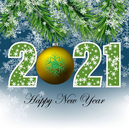 Abstract winter background for the new year 2021, snowflakes with fir branches and a gold ball on a blue background eps10 Vectores