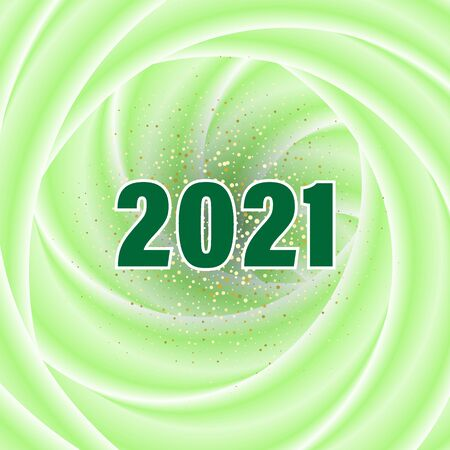 Green swirling wave style, abstract background with golden dust for new year 2021 eps10