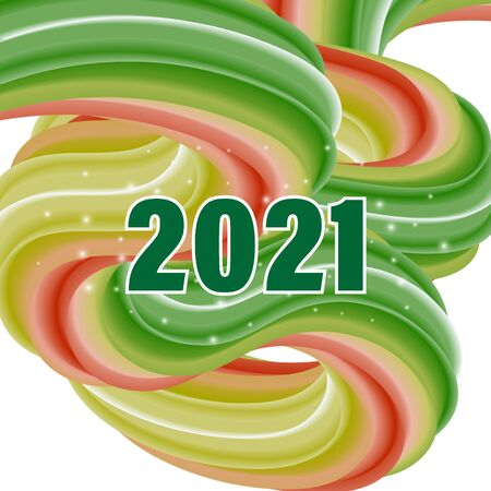 Colored wavy wave style, abstract background with sparkles for the new year 2021 eps10