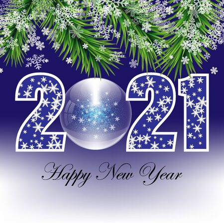 Abstract winter background for the new year 2021, snowflakes with fir branches on a blue background eps10