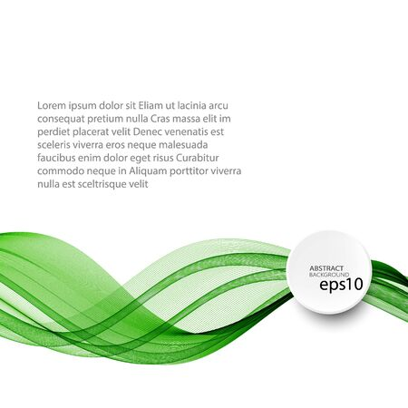 Abstract green wave vector background, horizontal wavy wave lines on white background eps10