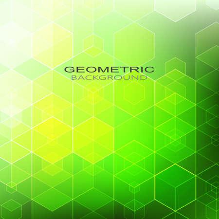 Vector Abstract geometric background. Template brochure design. Green hexagon shape eps10