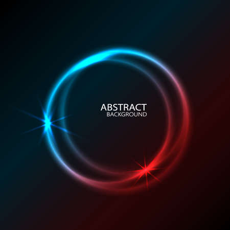 Vector Vibrant Neon Circle with Glow. Modern Round Frame with Empty Space for Text. Abstract Bright Neon Loop with Transparency. Colorful Shine, Flare. Illustration for Advertising, Banner, Card. Ilustración de vector