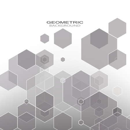 Gray design background hexagon pattern vector geometric Vector Illustration