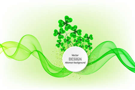 Abstract wavy wave background with green clover leaves. Vector illustration