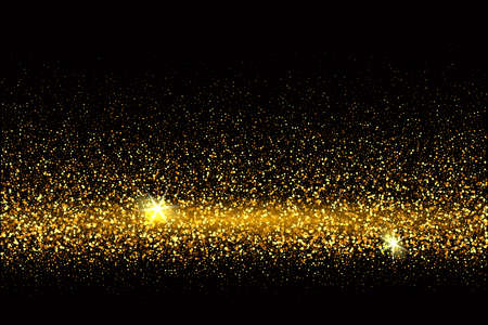 Festive background with falling glitter confetti, golden dust on black. Sparkling glitter border, vector frame. Great for wedding invitations, party posters, christmas, new year and birthday cards. Vecteurs