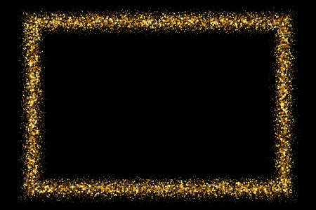 Gold frame glitter texture isolated on black. Golden color of winners. Gilded abstract particles. Explosion of confetti shine. Celebratory background. Vector illustration 矢量图像