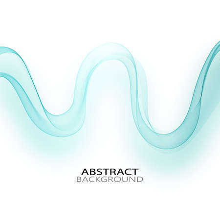 Wave with shadow.Abstract blue lines on a white background. Line art. Vector illustration. Colorful shiny wave with lines created using blend tool. Curved wavy line,smooth stripe.Design element. Ilustracja