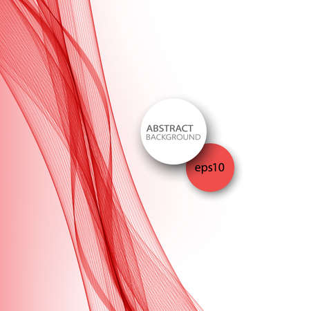 Transparent red vector wave on abstract background.
