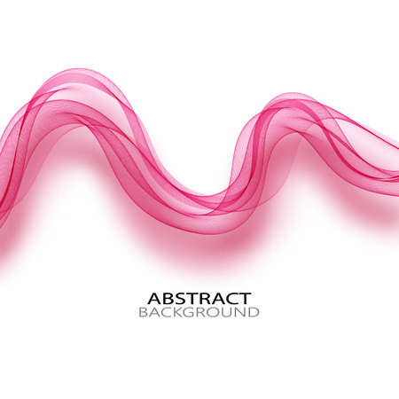 Transparent pink vector wave on abstract background ,pink curves.