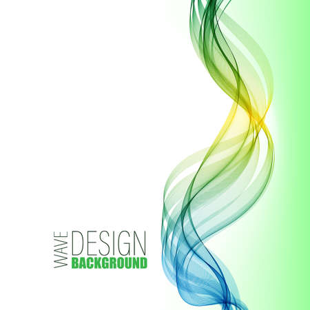 Blue and green vertical abstract transparent wave stream. Design template. 矢量图像