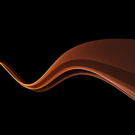 Futuristic abstract orange power swoosh waves template. Speed transparent light streaks over black background. Vector illustration