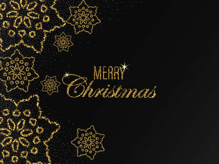 Christmas vector background with shining golden snowflakes and snow. Merry Christmas card illustration on black background. Sparkling golden snowflakes with glitter texture