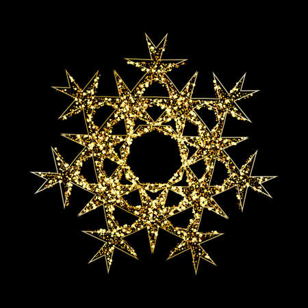 Gold glitter texture snowflake isolated on black background. Vector illustration.