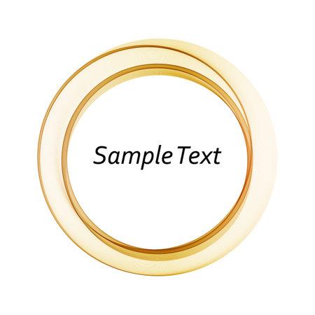 Wavy round gold frame, on white background