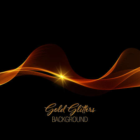 Abstract shiny color gold wave design element with gold glitter effect on dark background.
