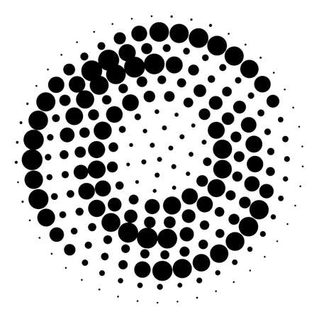 Modern abstract background. Halftone black dots in circle form.