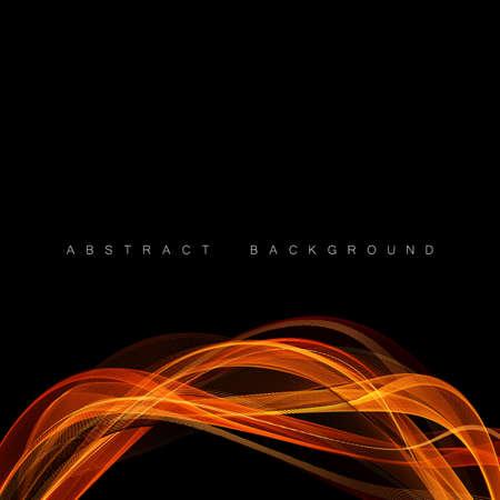Abstract shiny color gold wave design vector element on dark background. Science or technology design Illustration