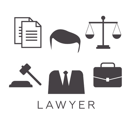 solicitor: Lawyer concept. Lawyer icons in flat style. Lawyer sign and symbol . Lawyer set illustration