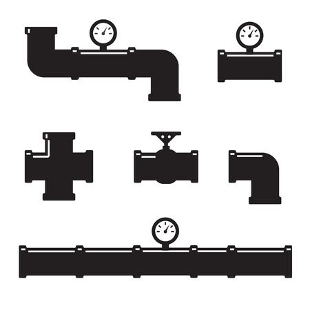 파이프 피팅 벡터 아이콘을 설정합니다. 튜브 산업, 건설 파이프 라인, 배수 시스템