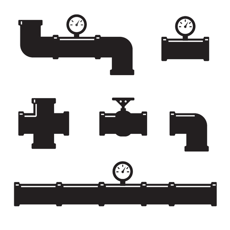 oil pipeline: Pipe fittings vector icons set. Tube industry, construction pipeline, drain system