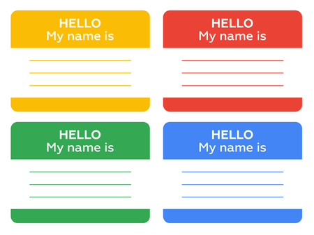 name badge: hello my name is sign with blank white copyspace for text message