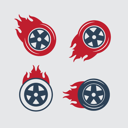 blaze: Racing flat labels set. Blaze and flash, auto transport, flame tire
