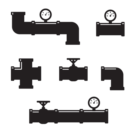 gas pipe: Set of black details pipes Illustration
