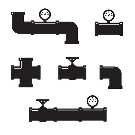 Set of black details pipes