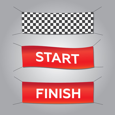 autosport: Start and finish textile banners vector set. Flag sport race, competition finishing