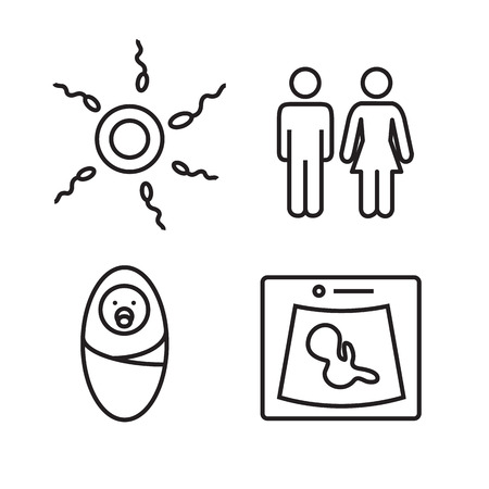 weighing scales: Medicine and pregnancy vector line icons set. Baby and weighing, scales and uzi