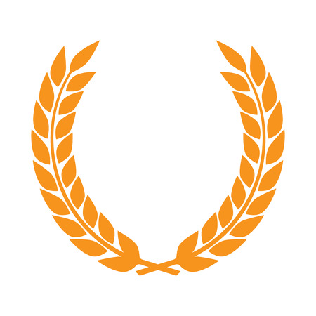 laurel leaf: Vector gold award laurel wreath. Winner label, leaf symbol victory, triumph and success