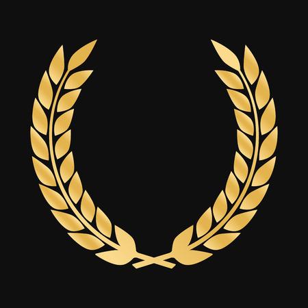 laurel leaf: Vector gold award laurel wreath. Winner label, leaf symbol victory Illustration