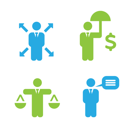 flexible business: Business Policies Icons Illustration