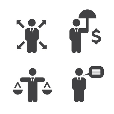 etica: Las políticas de negocio Iconos. Vectores