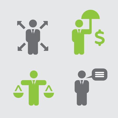 business ethics: Business Policies Icons Illustration