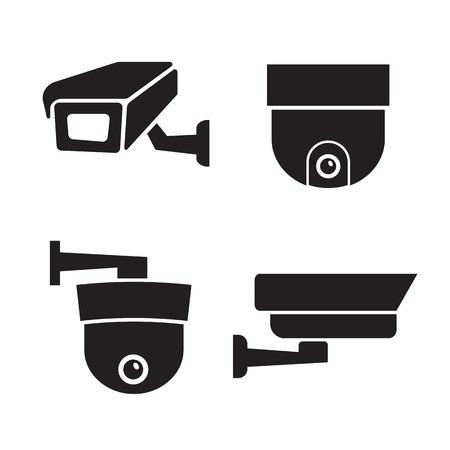 Security surveillance camera, CCTV icons set