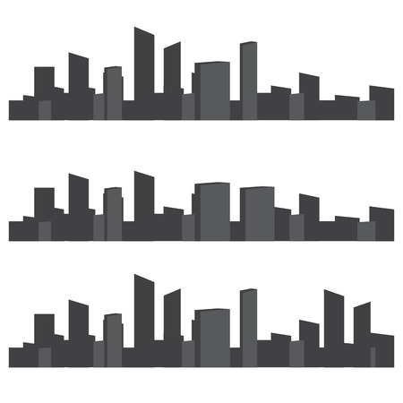 side effect: Set of black and white panorama cities