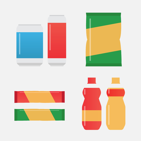 snacks: Fast food snacks and drinks flat vector icons
