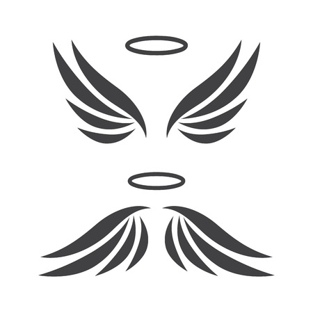 halo: Vector sketch of angel wings Illustration