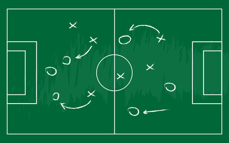 Soccer or football game strategy plan. Realistic blackboard. Vector illustration. Sport infographics element.  イラスト・ベクター素材