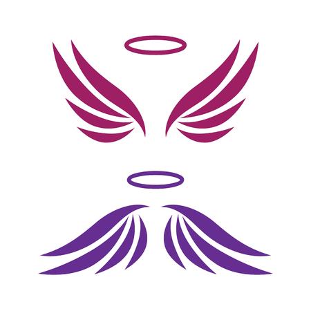 aureole: Vector sketch of angel wings Illustration