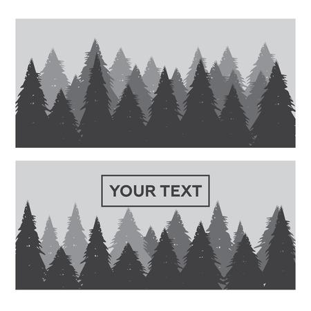 bosque de pinos conjunto de banner horizontal Ilustración de vector